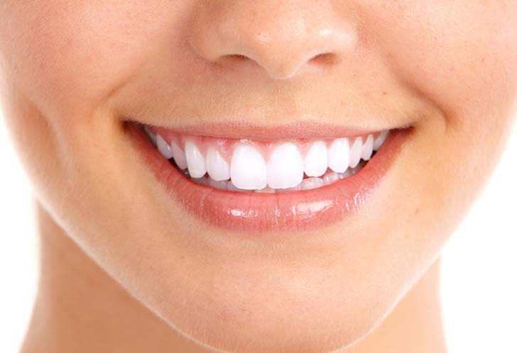 Beautiful smile with white teeth.